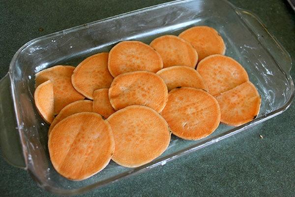Sweet potato and Sausage Casserole - start of layer 1