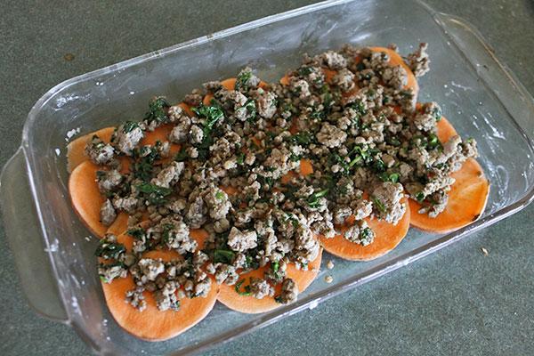 Sweet potato and Sausage Casserole - layer 1