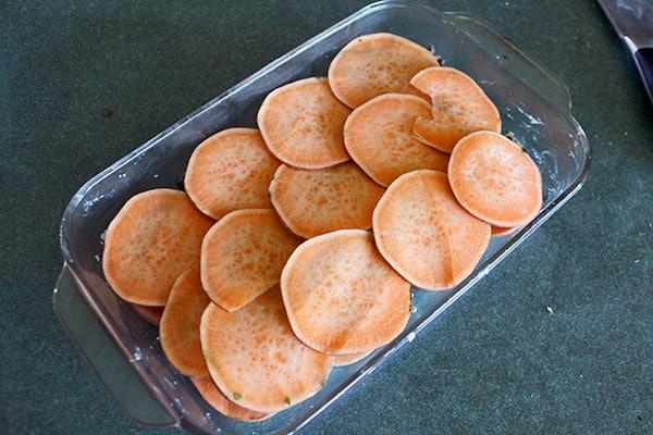 Sweet potato and Sausage Casserole - start of layer 2