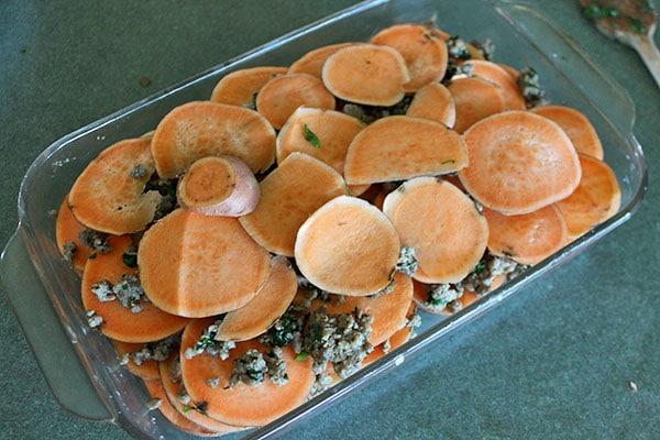 Sweet potato and Sausage Casserole - Finished Layering