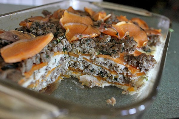 Sweet potato and Sausage Casserole cut