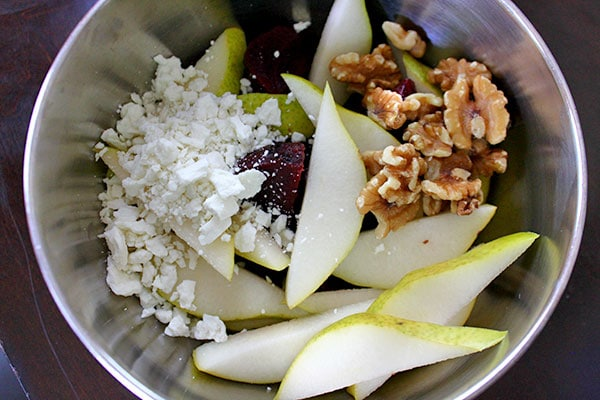 Pear Beet Salad with Walnuts and Goat Cheese - Ingredients