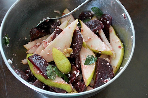Pear Beet Salad with Walnuts and Goat Cheese - Tossed
