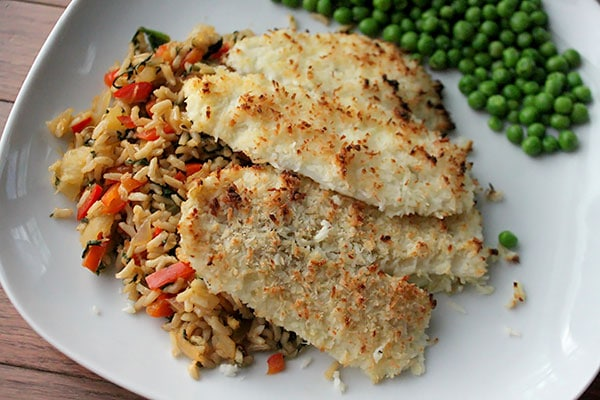 Coconut Crusted Flounder Over Pineapple Fried Rice Plated