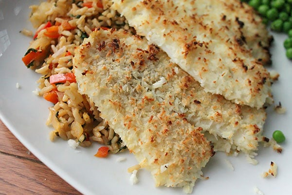 Close up of Coconut Crusted Flounder