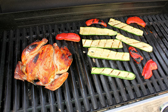 spatchcocked chicken on the grill