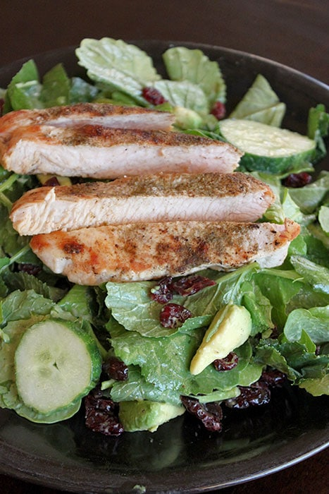 Turkey and Baby Kale Salad with Avocado Sage Dressing