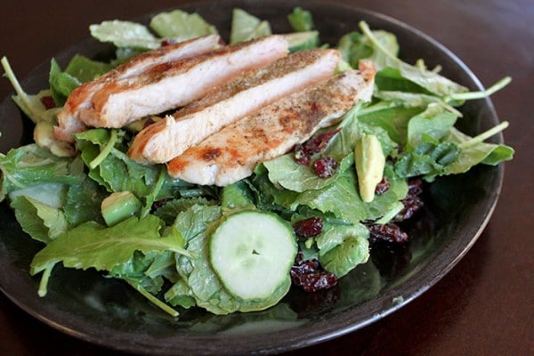Plated Turkey and Baby Kale Salad with Avocado Sage Dressing