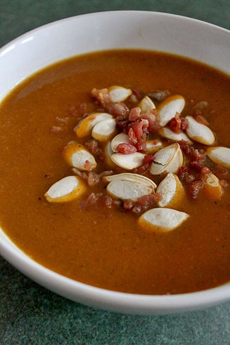 Peppery Roasted Butternut Squash Soup with Bacon