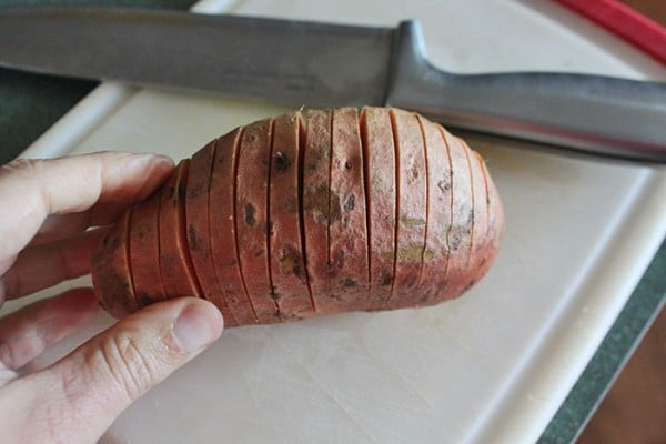 Hasselback Sweet Potato With Cheddar, Chives and Bacon Step 1