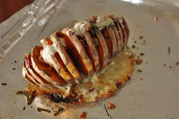 Hasselback Sweet Potato With Cheddar, Chives and Bacon After cooking