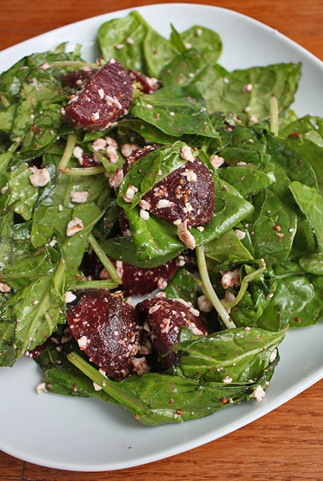 Beet and Greens Salad with Goat Cheese