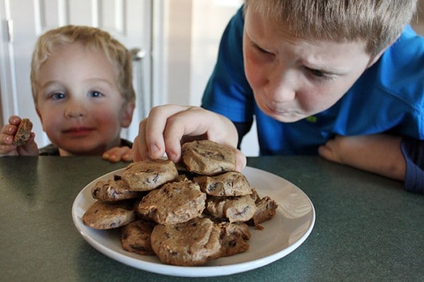 Kids waiting for Chocolate Chip Cookie Dough Cookies