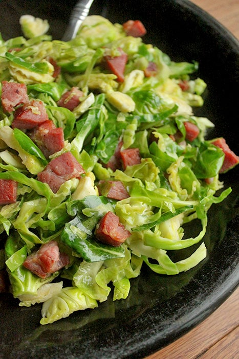 Brussel Sprout Salad with Maple Spiced Ham