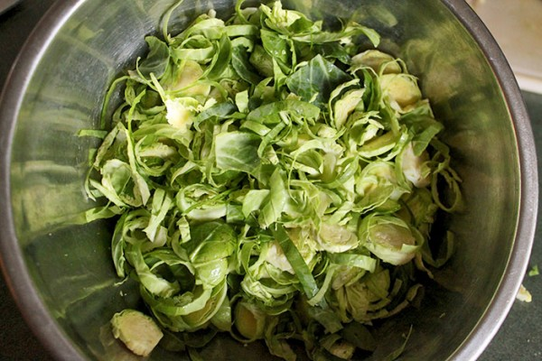 Bowl of Cut Brussels Sprouts