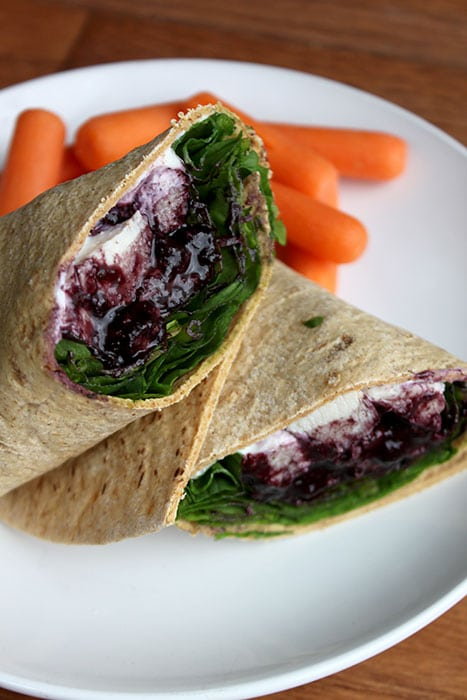 Flatout Flat Bread Chicken Wrap with a Simple Blueberry Balsamic Reduction