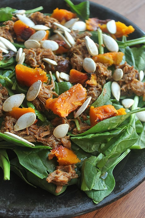 Pulled Pork Spinach Salad with Roasted Winter Squash