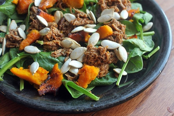 Pulled Pork Spinach Salad with Roasted Winter Squash Finished