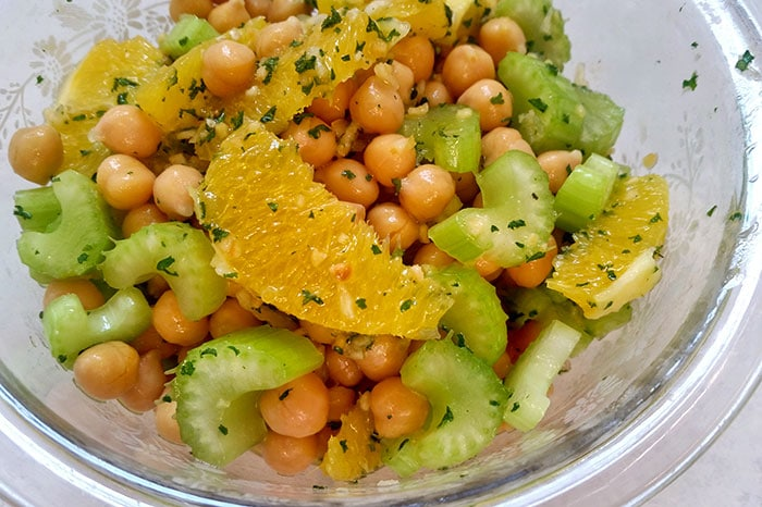 Finished Chickpea, Orange and Celery Salad