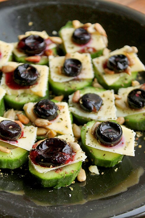 Cucumber Bites with Blueberries and Cheddar
