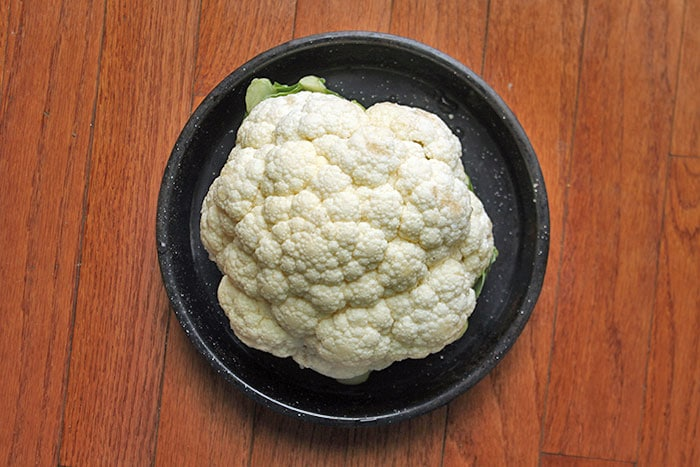 Roasted Cauliflower Head aka The Pufferfish Method - Before Cooking