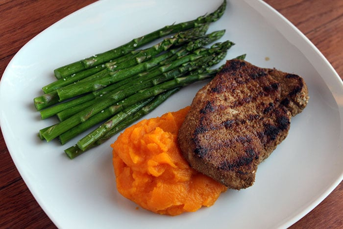 Pan-fried Pork Chops with Roasted Butternut Squash Puree Finished Plate