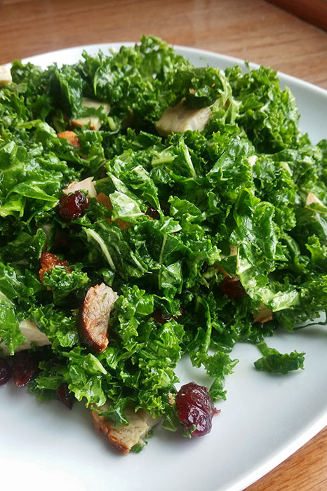 Kale Salad with Leftover Pork, Dried Cranberries and Sage Maple Dressing