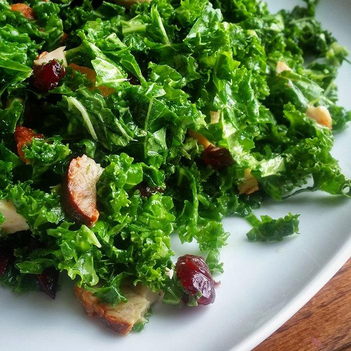 Kale Salad with Leftover Pork, Dried Cranberries and Sage Maple Dressing -- Instagram
