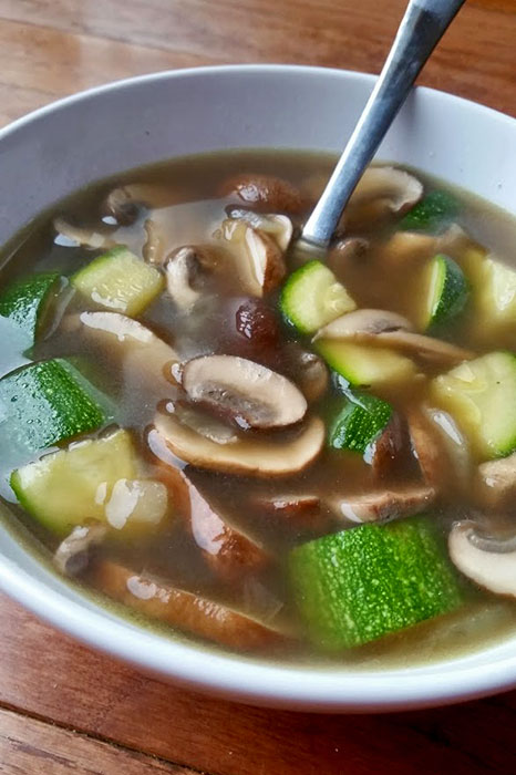 Mushroom and Zucchini Soup with Northern Beans