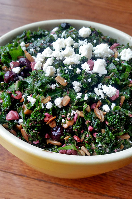 Kale and Blueberry Salad with Feta and Sunflower Seeds