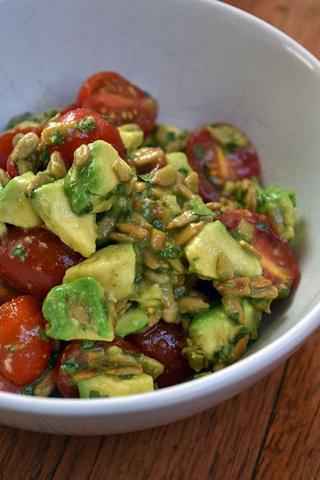 Avocado Tomato Salad with Sunflower Seeds