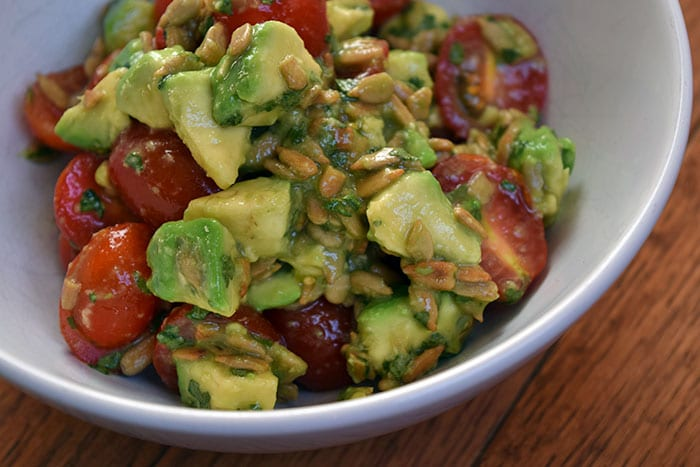 Avocado and Tomato Salad with Sunflower Seeds