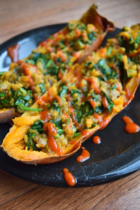 Baked Sweet Potato with Spinach and Sausage