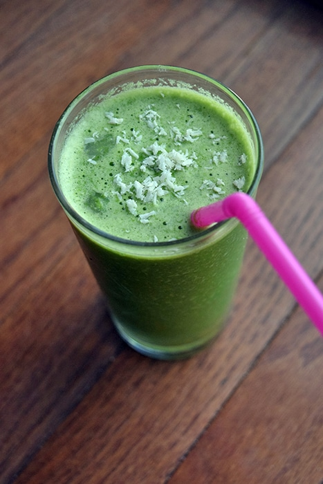 Green Pineapple Core and Coconut Smoothie