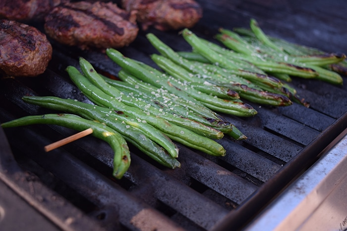 Simply Grilled Green Beans close up