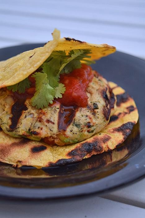 "Grilled Turkey-Guac Burgers on Tortilla ""Buns"""