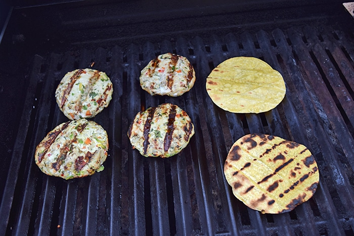 "Grilled Turkey-Guac Burgers on Tortilla ""Buns""  - on Grill"