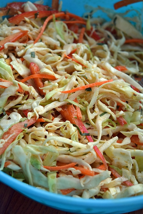 Asian Inspired Almond Cabbage Slaw