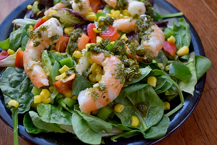 Green Salad with Shrimp and Basil Mint Dressing Plated