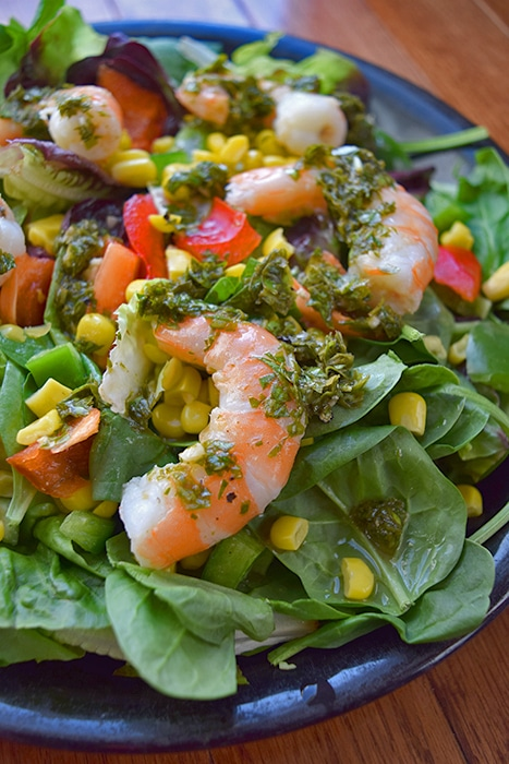 Green Salad with Shrimp and Basil Mint Dressing