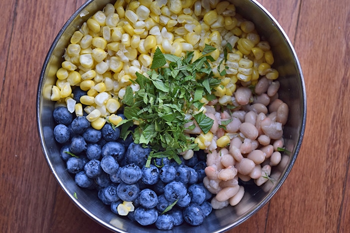 Blueberry Salad with Northern Beans and Corn - The ingredients
