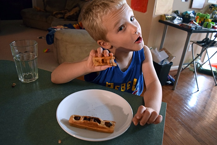 kids eating waffles