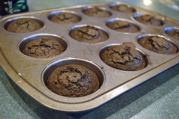 Chocolate Kale Banan Muffins after baking