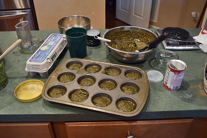 Chocolate Kale Banan Muffins before baking