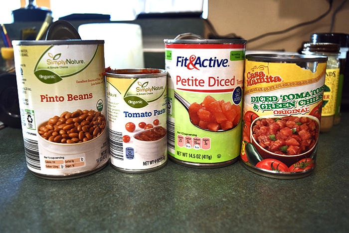Canned goods for Turkey, Collard Green and Pinto Bean Chili