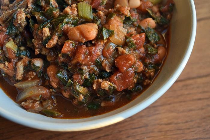 Turkey, Collard Green and Pinto Bean Chili