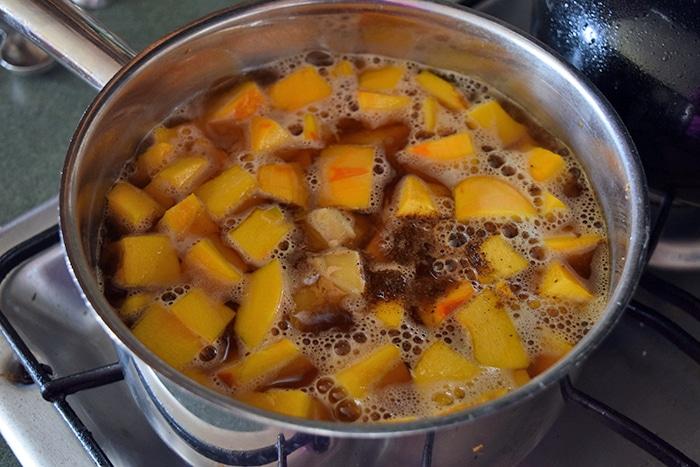 pumpkin cooking in broth