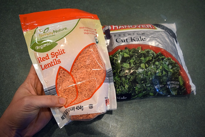 pink Lentils and Kale