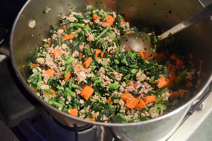 Lentil Soup with Ground Turkey and Kale - step 1