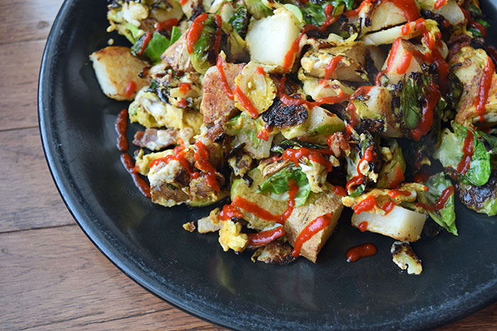 Breakfast Scramble with Bacon, Brussels Sprouts and Potatoes